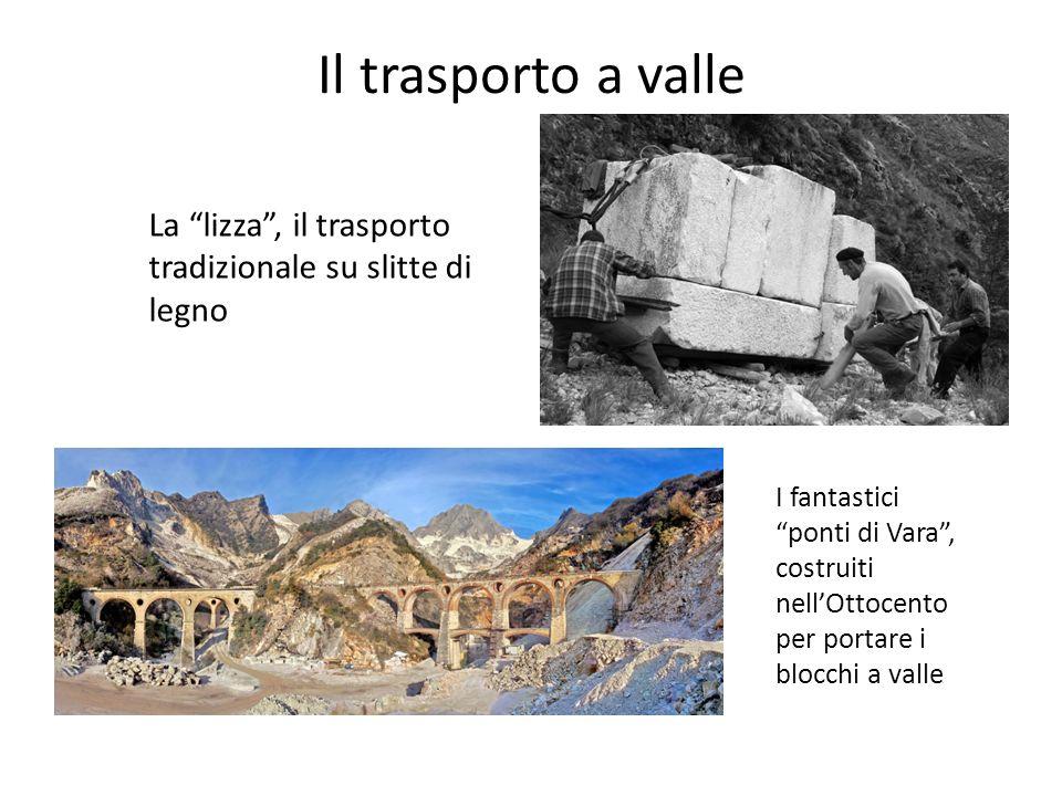 Il trasporto a valle La lizza , il trasporto tradizionale su slitte di legno.