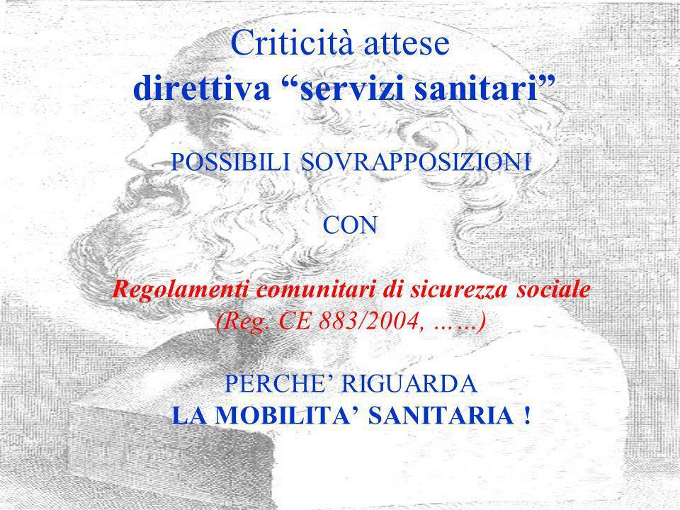 Criticità attese direttiva servizi sanitari
