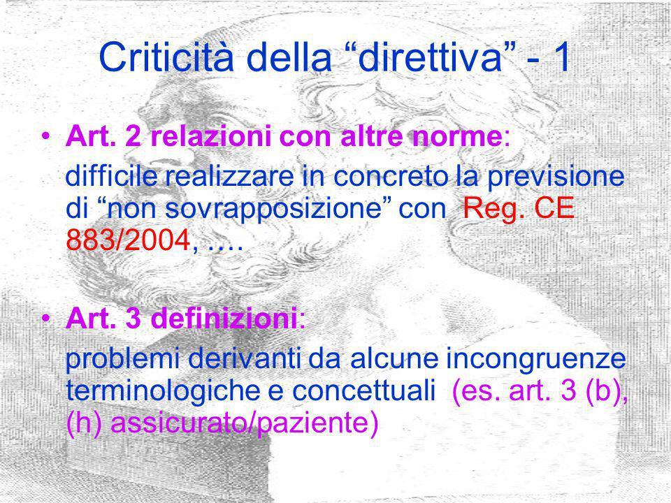 Criticità della direttiva - 1