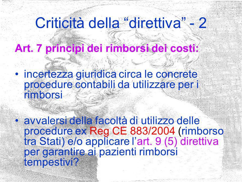 Criticità della direttiva - 2
