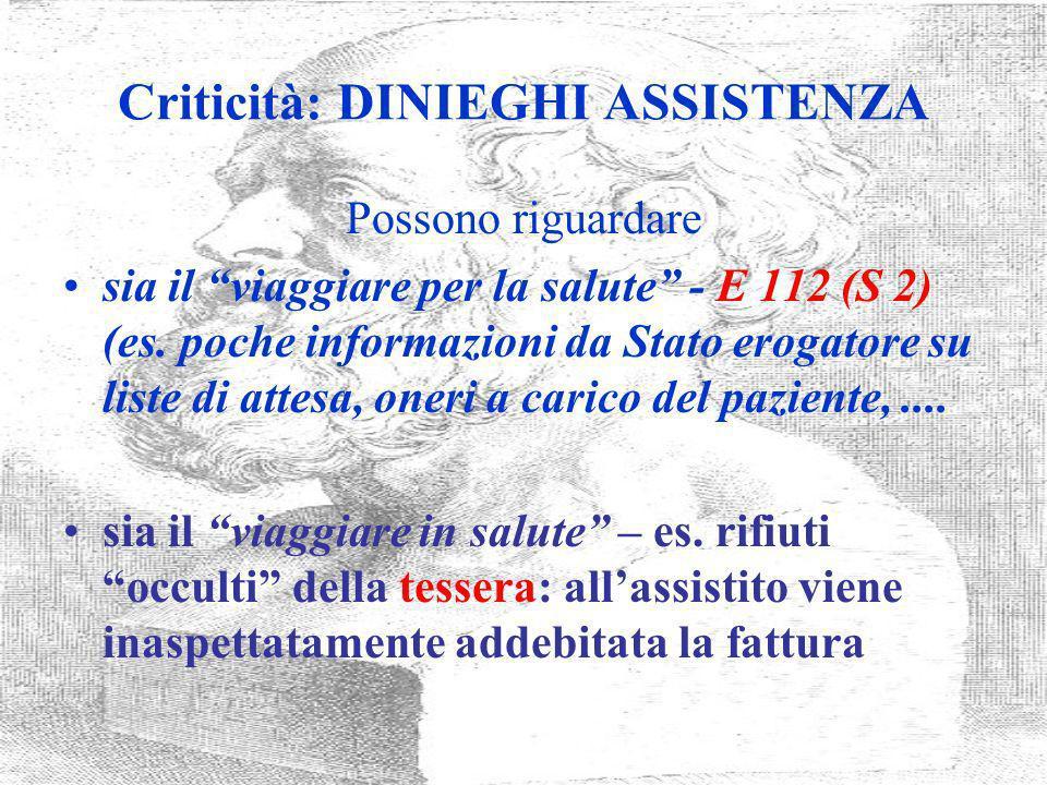 Criticità: DINIEGHI ASSISTENZA