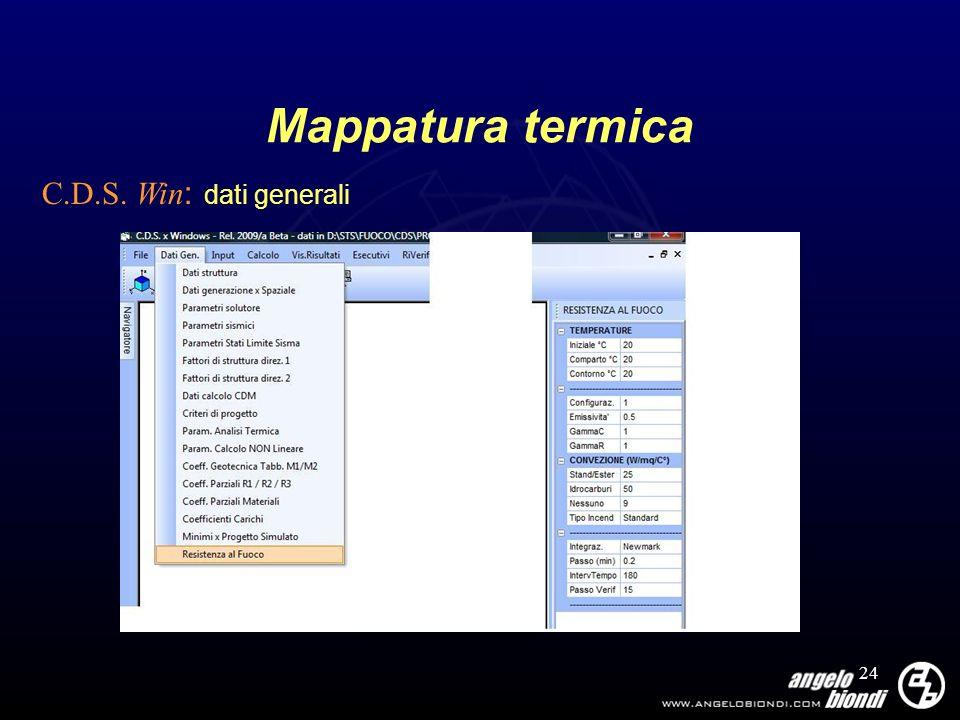 Mappatura termica C.D.S. Win: dati generali