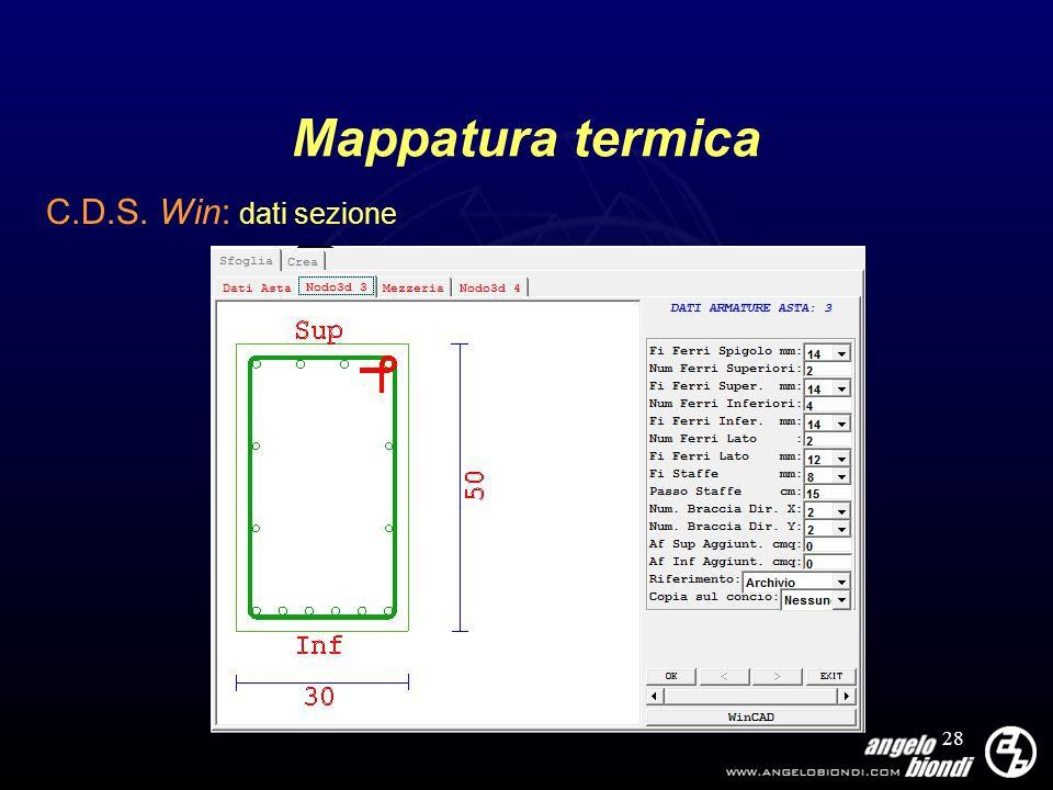 Mappatura termica C.D.S. Win: dati sezione