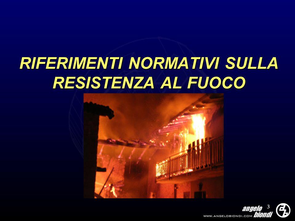 RIFERIMENTI NORMATIVI SULLA RESISTENZA AL FUOCO