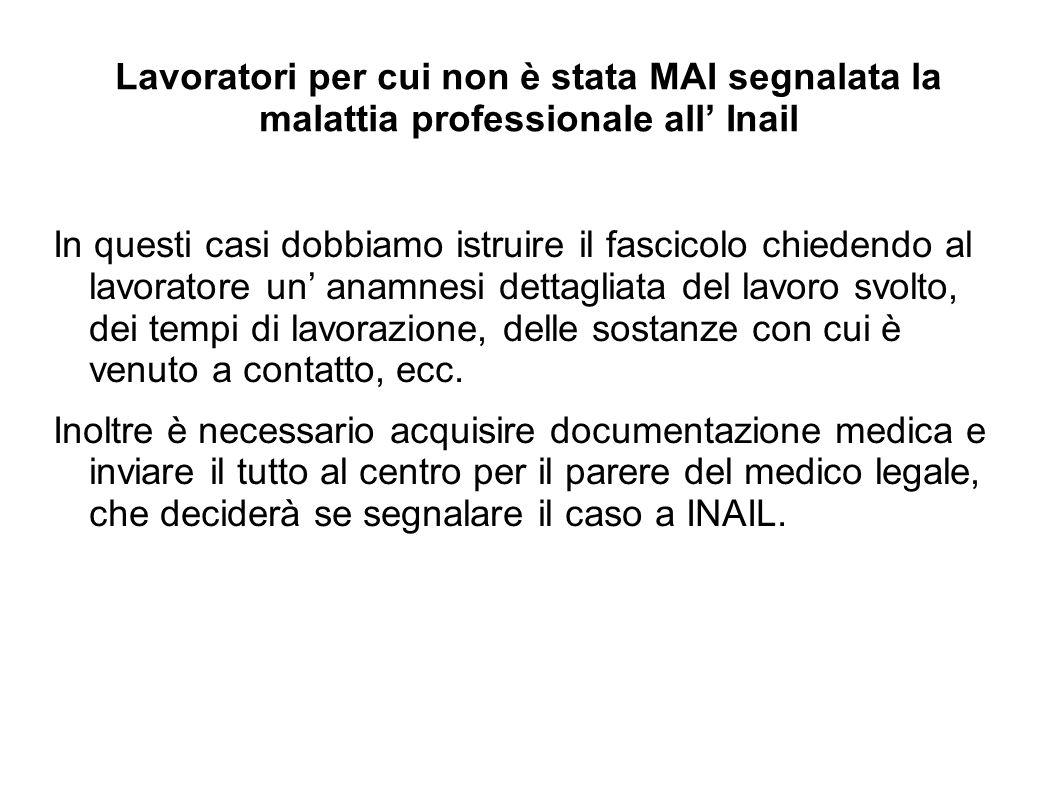 Lavoratori per cui non è stata MAI segnalata la malattia professionale all' Inail