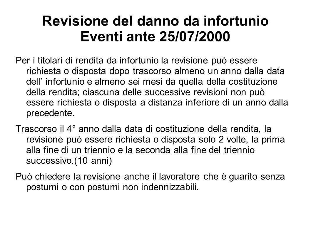 Revisione del danno da infortunio Eventi ante 25/07/2000