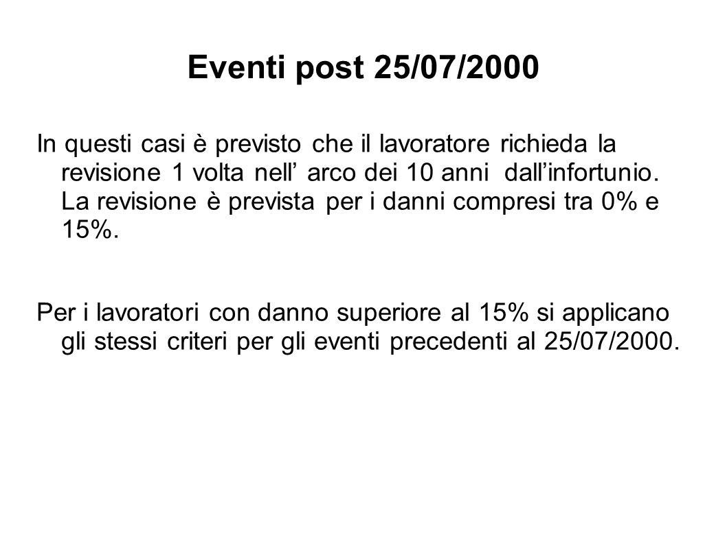 Eventi post 25/07/2000