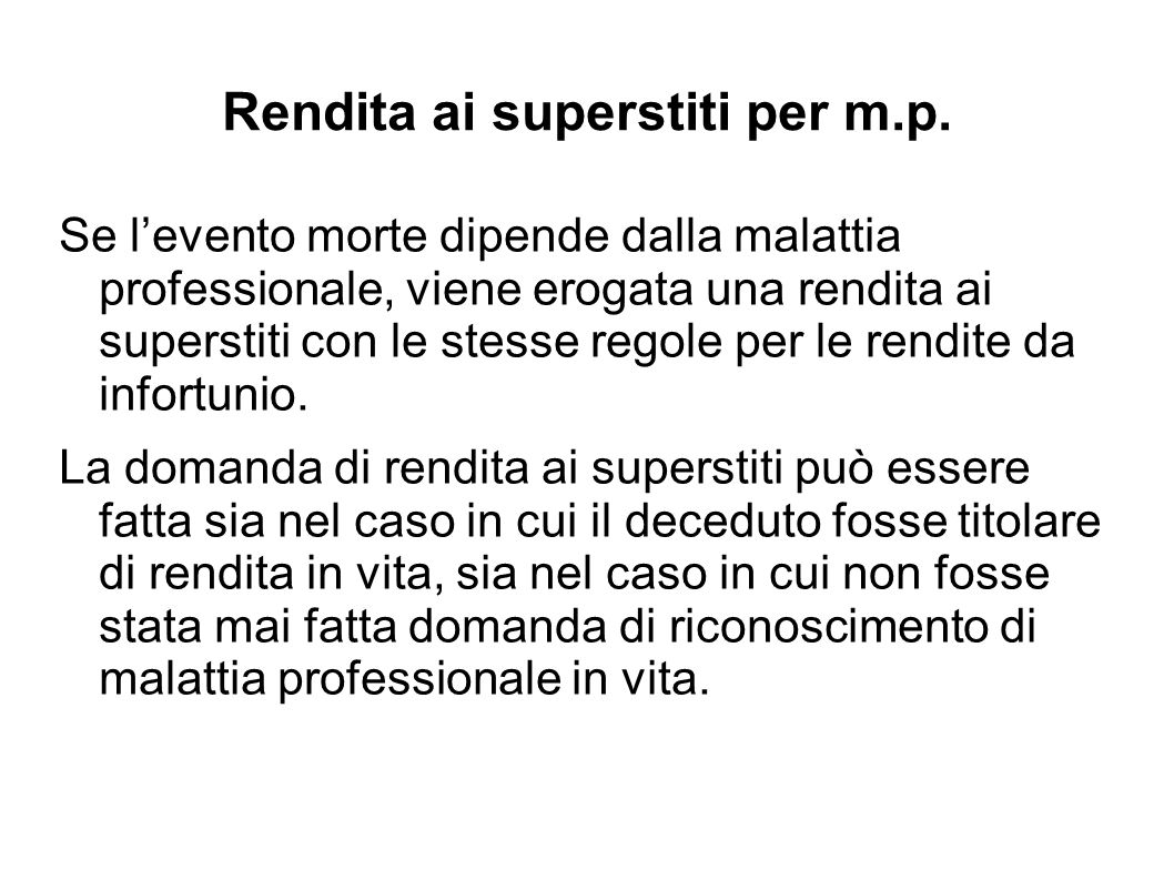 Rendita ai superstiti per m.p.
