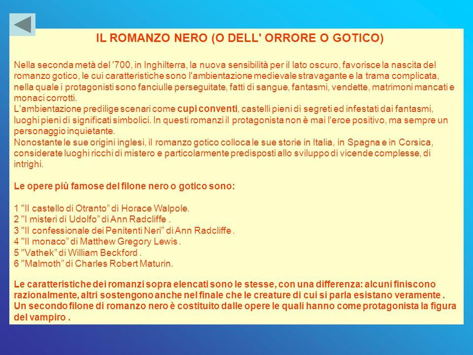 IL ROMANZO NERO (O DELL ORRORE O GOTICO)