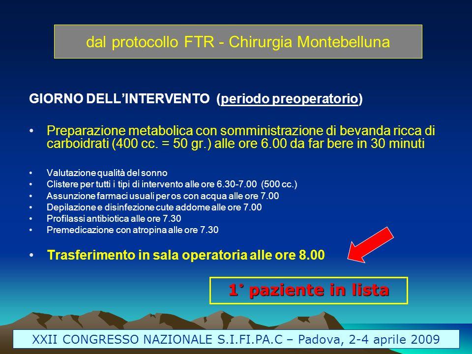 dal protocollo FTR - Chirurgia Montebelluna