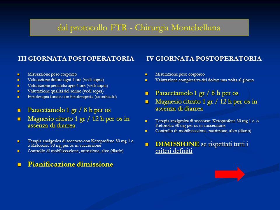 III GIORNATA POSTOPERATORIA IV GIORNATA POSTOPERATORIA