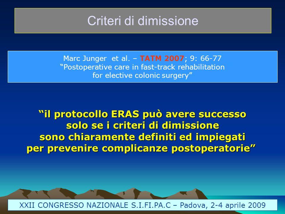 Criteri di dimissione il protocollo ERAS può avere successo