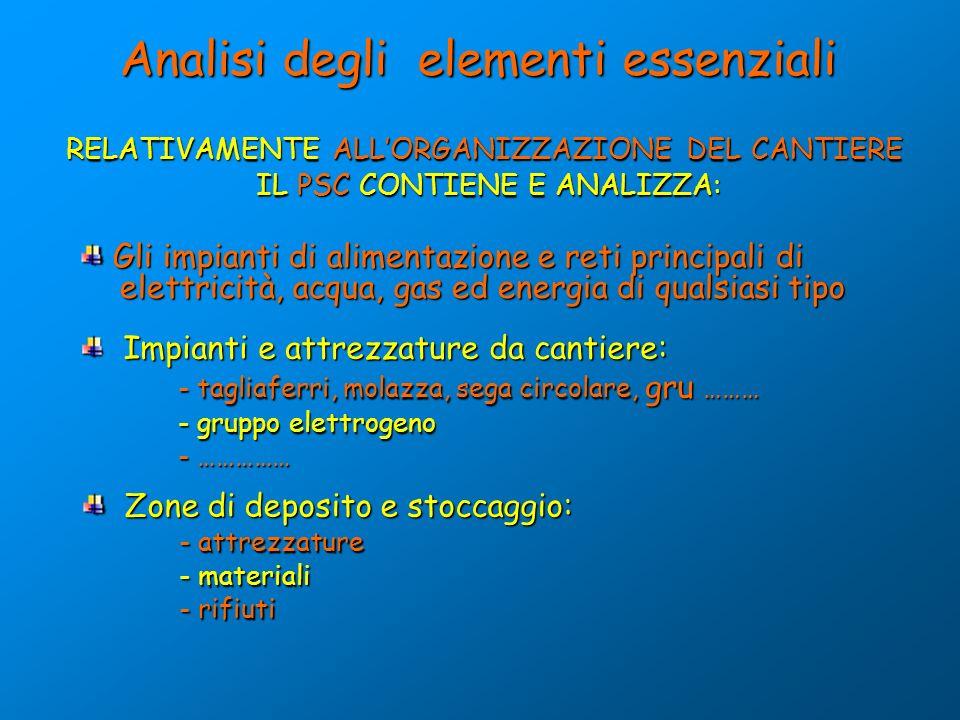 Analisi degli elementi essenziali