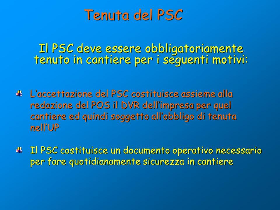Tenuta del PSC Il PSC deve essere obbligatoriamente tenuto in cantiere per i seguenti motivi: L'accettazione del PSC costituisce assieme alla.