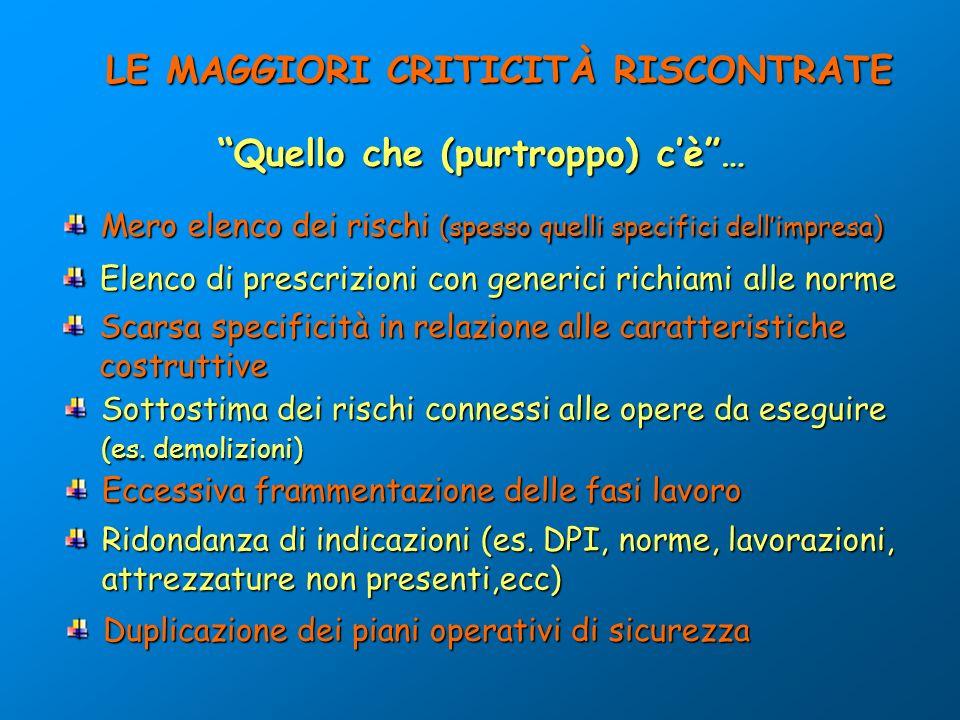LE MAGGIORI CRITICITÀ RISCONTRATE