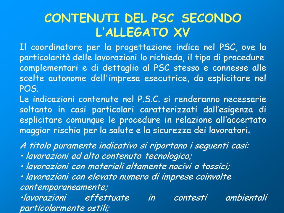 CONTENUTI DEL PSC SECONDO L'ALLEGATO XV
