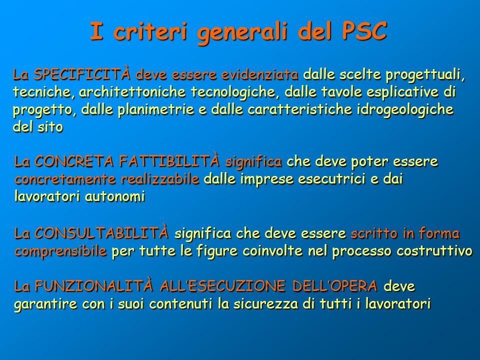 I criteri generali del PSC