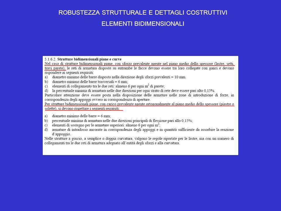 ROBUSTEZZA STRUTTURALE E DETTAGLI COSTRUTTIVI ELEMENTI BIDIMENSIONALI