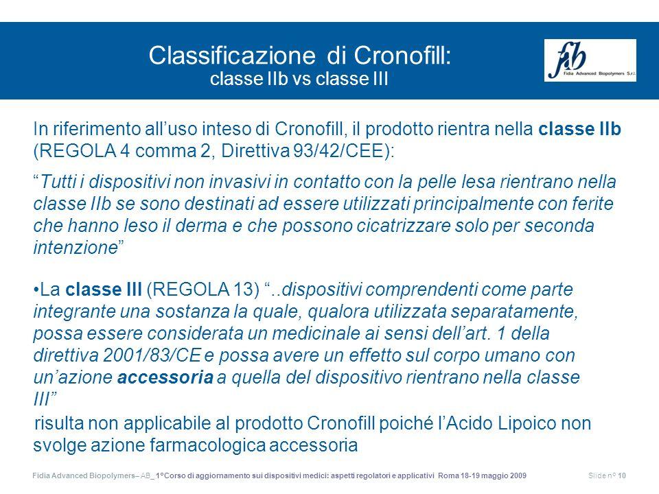 Classificazione di Cronofill: classe IIb vs classe III