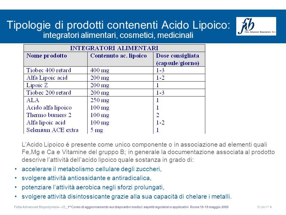 Tipologie di prodotti contenenti Acido Lipoico: integratori alimentari, cosmetici, medicinali