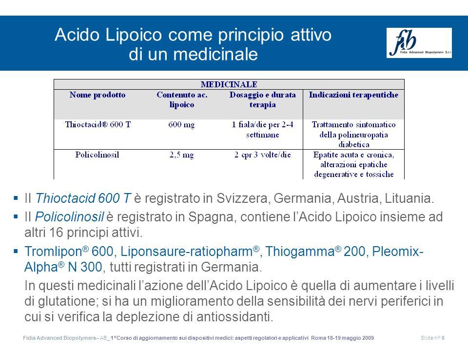 Acido Lipoico come principio attivo di un medicinale