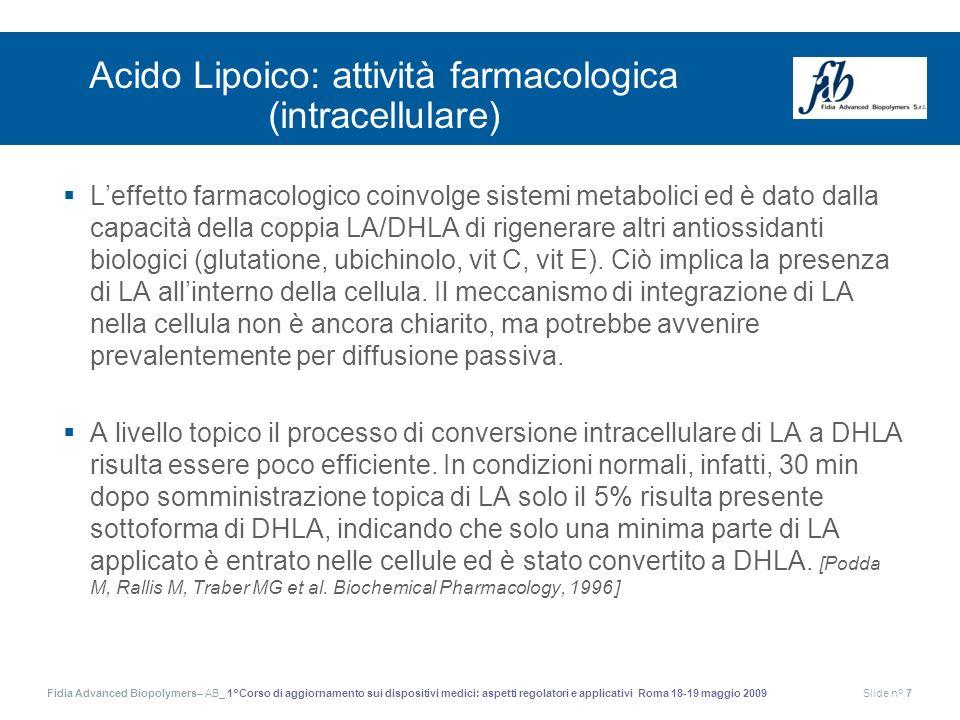 Acido Lipoico: attività farmacologica (intracellulare)