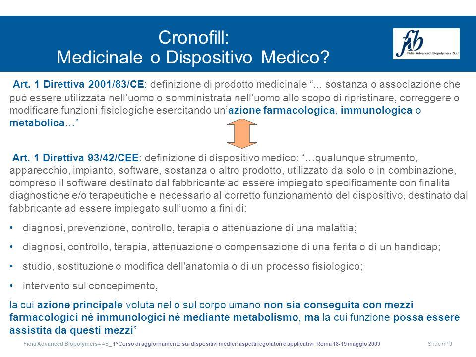 Cronofill: Medicinale o Dispositivo Medico
