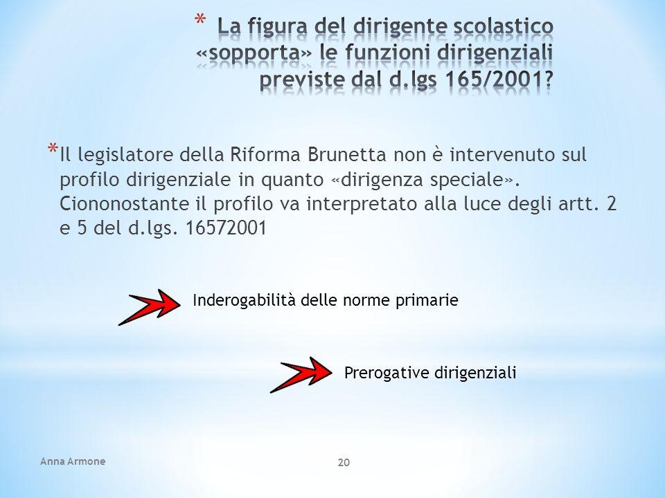 La figura del dirigente scolastico «sopporta» le funzioni dirigenziali previste dal d.lgs 165/2001