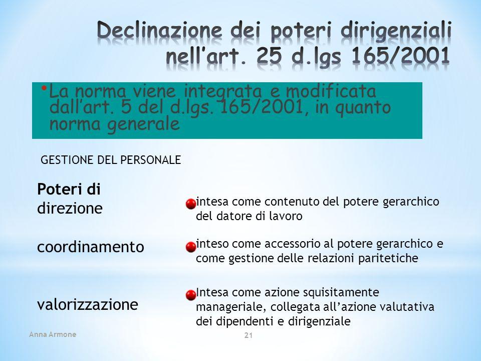 Declinazione dei poteri dirigenziali nell'art. 25 d.lgs 165/2001