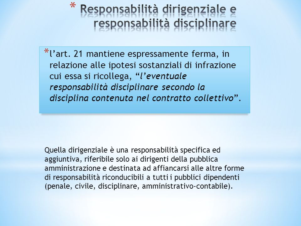 Responsabilità dirigenziale e responsabilità disciplinare