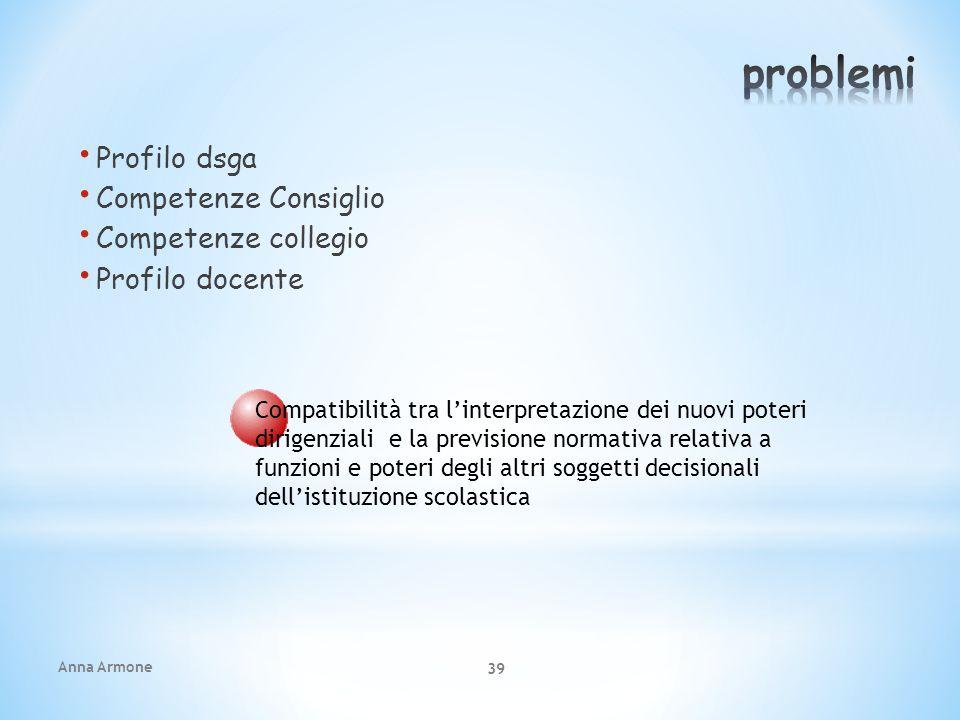 problemi Profilo dsga Competenze Consiglio Competenze collegio