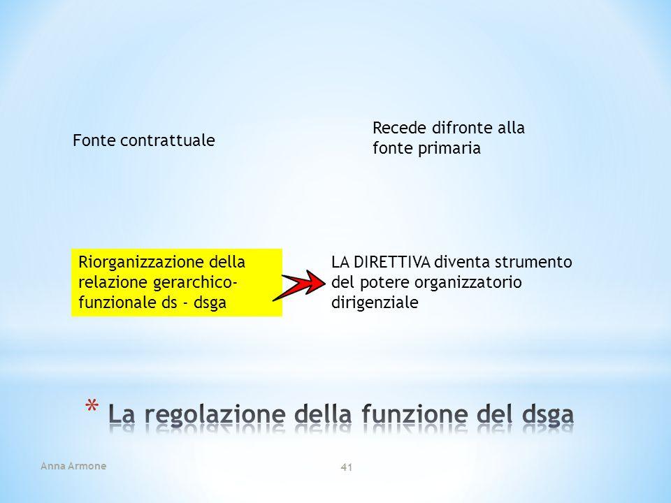 La regolazione della funzione del dsga