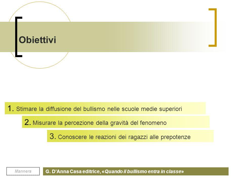 Obiettivi 1. Stimare la diffusione del bullismo nelle scuole medie superiori. 2. Misurare la percezione della gravità del fenomeno.