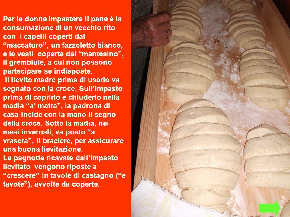 Per le donne impastare il pane è la consumazione di un vecchio rito con i capelli coperti dal maccaturo , un fazzoletto bianco, e le vesti coperte dal mantesino , il grembiule, a cui non possono partecipare se indisposte.