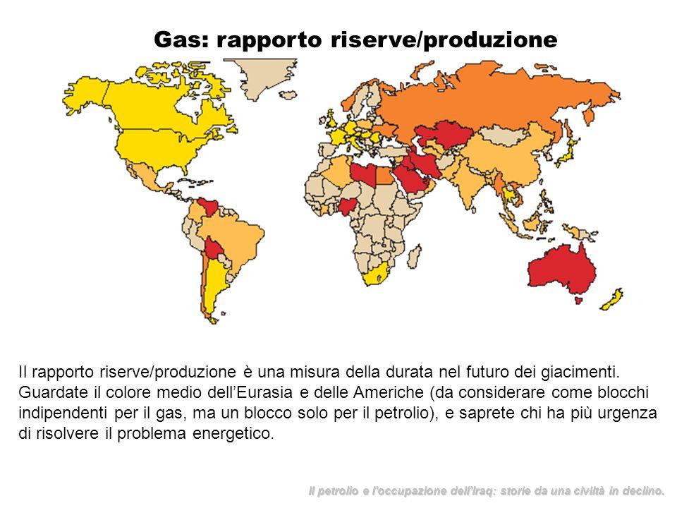 Gas: rapporto riserve/produzione