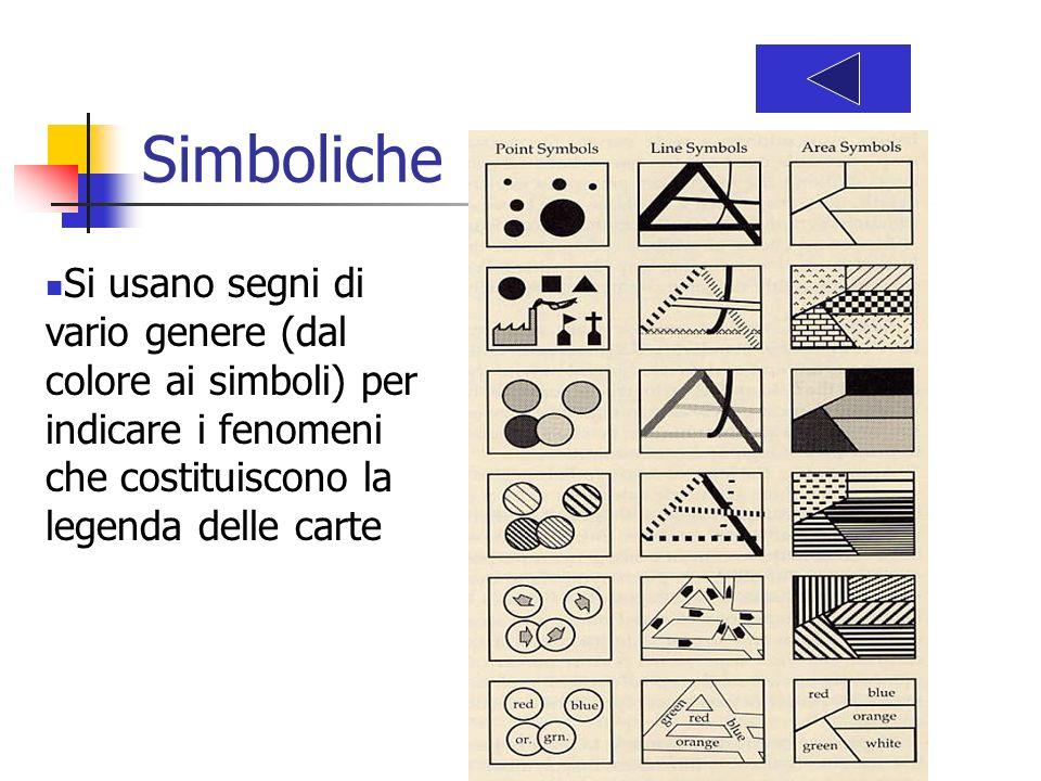 Simboliche Si usano segni di vario genere (dal colore ai simboli) per indicare i fenomeni che costituiscono la legenda delle carte.