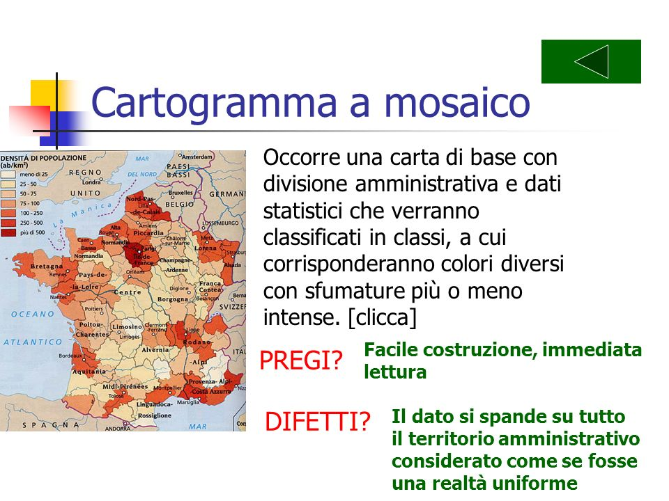 Cartogramma a mosaico PREGI DIFETTI