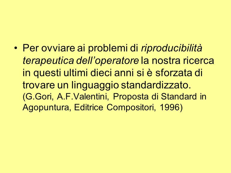 Per ovviare ai problemi di riproducibilità terapeutica dell'operatore la nostra ricerca in questi ultimi dieci anni si è sforzata di trovare un linguaggio standardizzato.