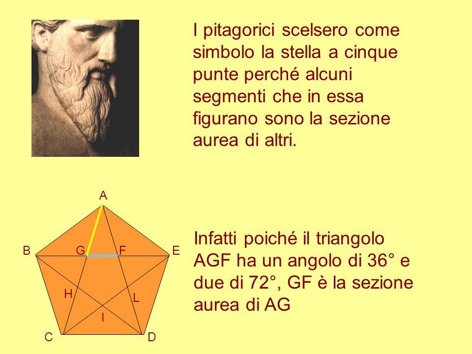 I pitagorici scelsero come simbolo la stella a cinque punte perché alcuni segmenti che in essa figurano sono la sezione aurea di altri.