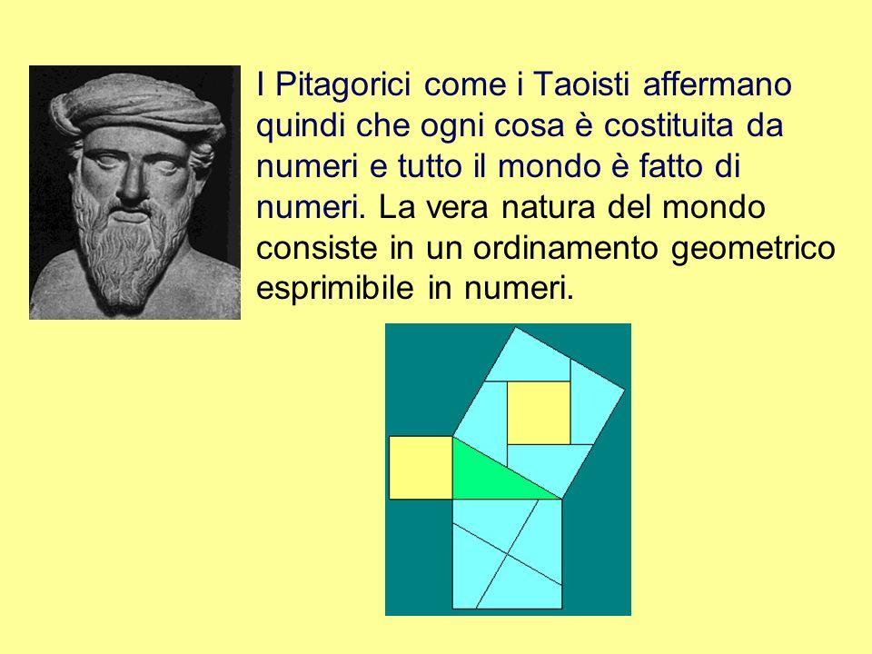 I Pitagorici come i Taoisti affermano quindi che ogni cosa è costituita da numeri e tutto il mondo è fatto di numeri.