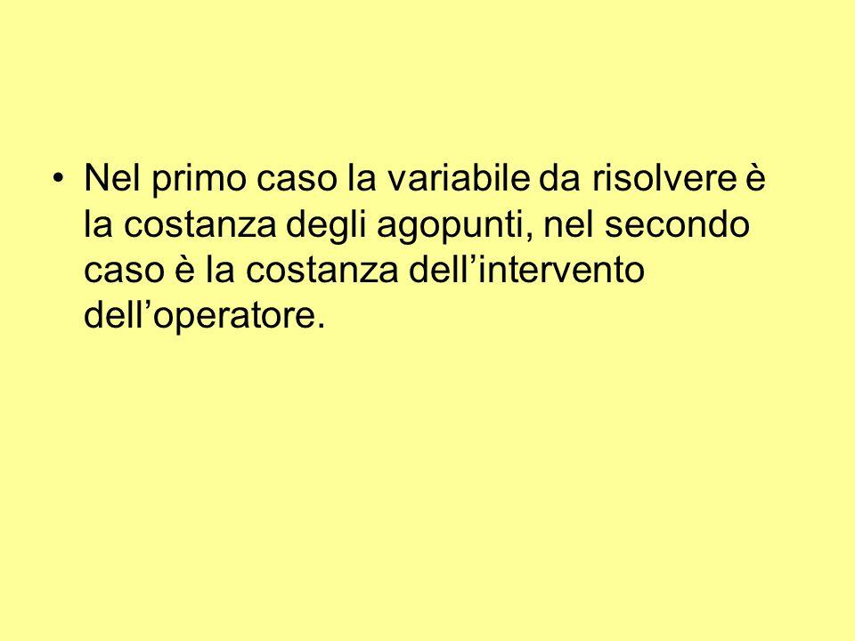 Nel primo caso la variabile da risolvere è la costanza degli agopunti, nel secondo caso è la costanza dell'intervento dell'operatore.