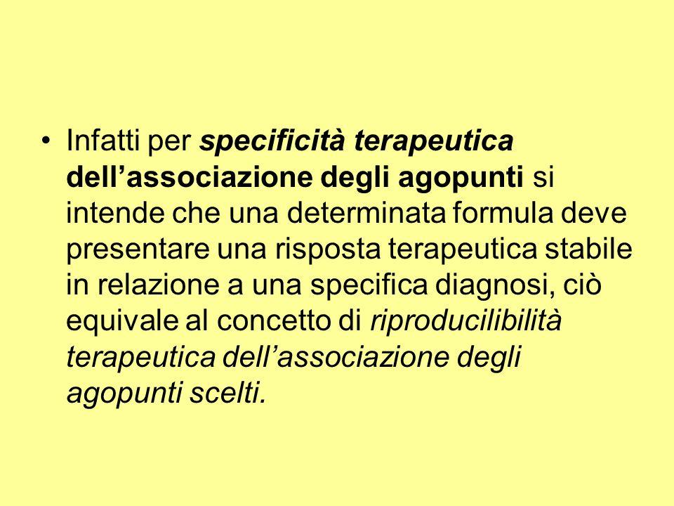 Infatti per specificità terapeutica dell'associazione degli agopunti si intende che una determinata formula deve presentare una risposta terapeutica stabile in relazione a una specifica diagnosi, ciò equivale al concetto di riproducilibilità terapeutica dell'associazione degli agopunti scelti.