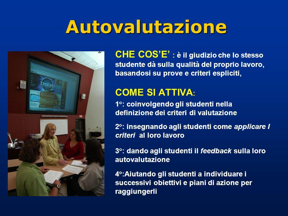 Autovalutazione CHE COS'E' : è il giudizio che lo stesso studente dà sulla qualità del proprio lavoro, basandosi su prove e criteri espliciti,
