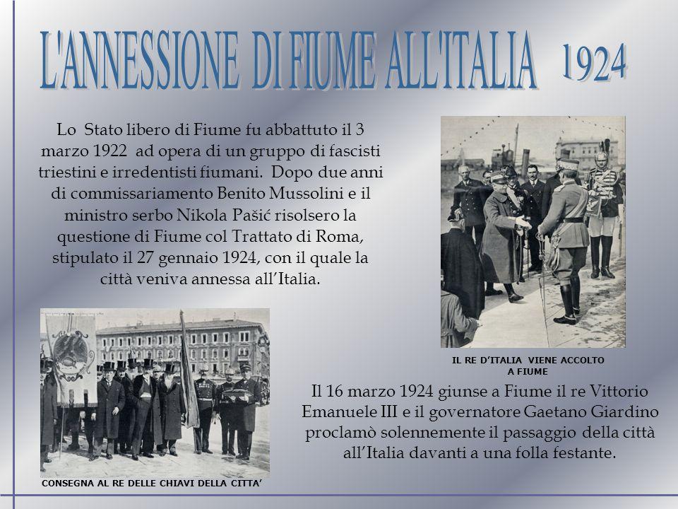 1924 L ANNESSIONE DI FIUME ALL ITALIA