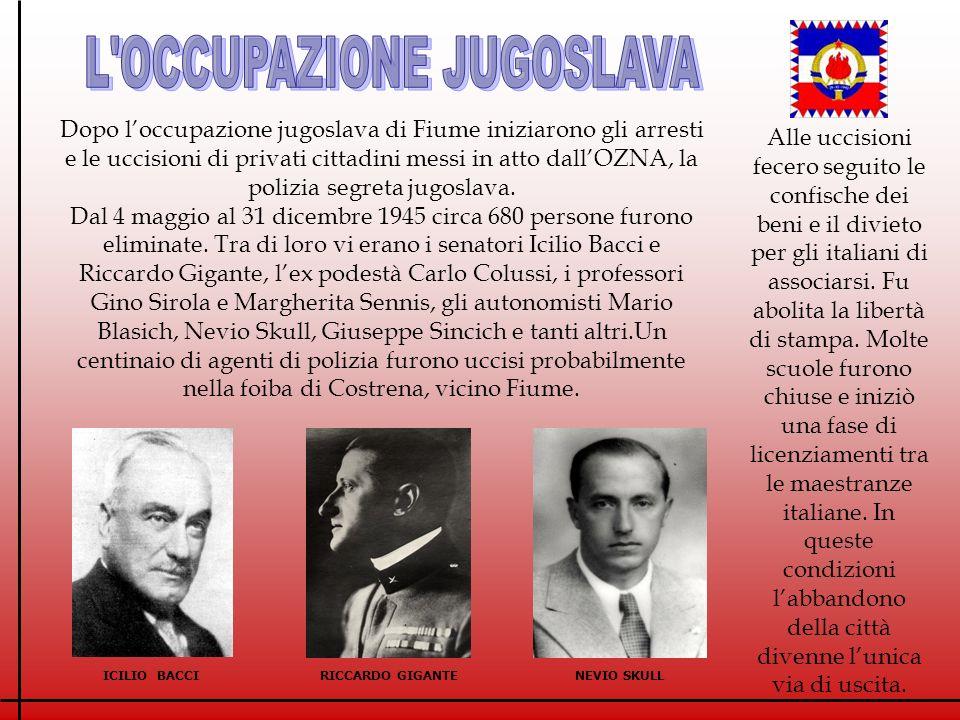 L OCCUPAZIONE JUGOSLAVA