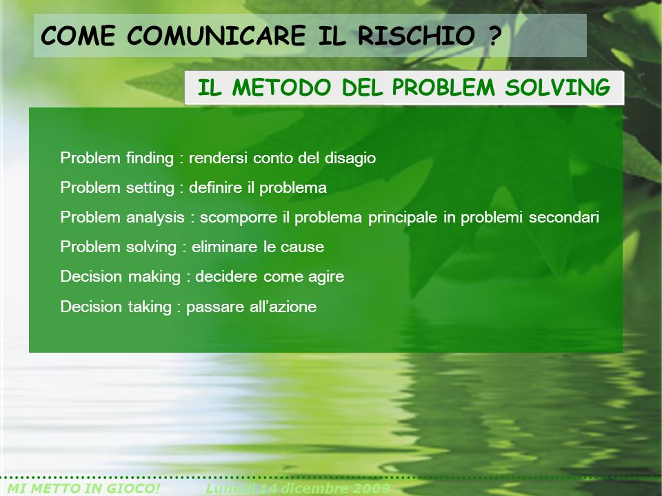 IL METODO DEL PROBLEM SOLVING