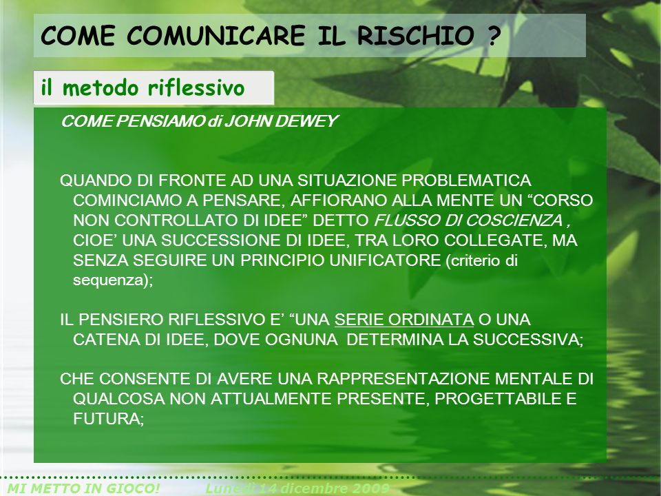 COME COMUNICARE IL RISCHIO