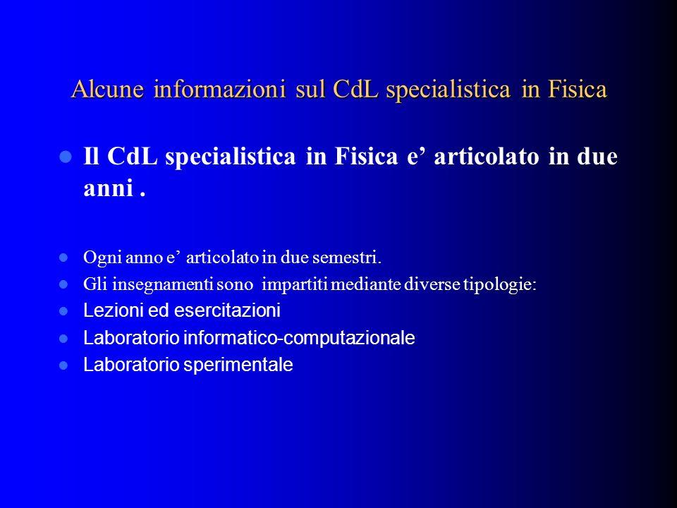 Alcune informazioni sul CdL specialistica in Fisica
