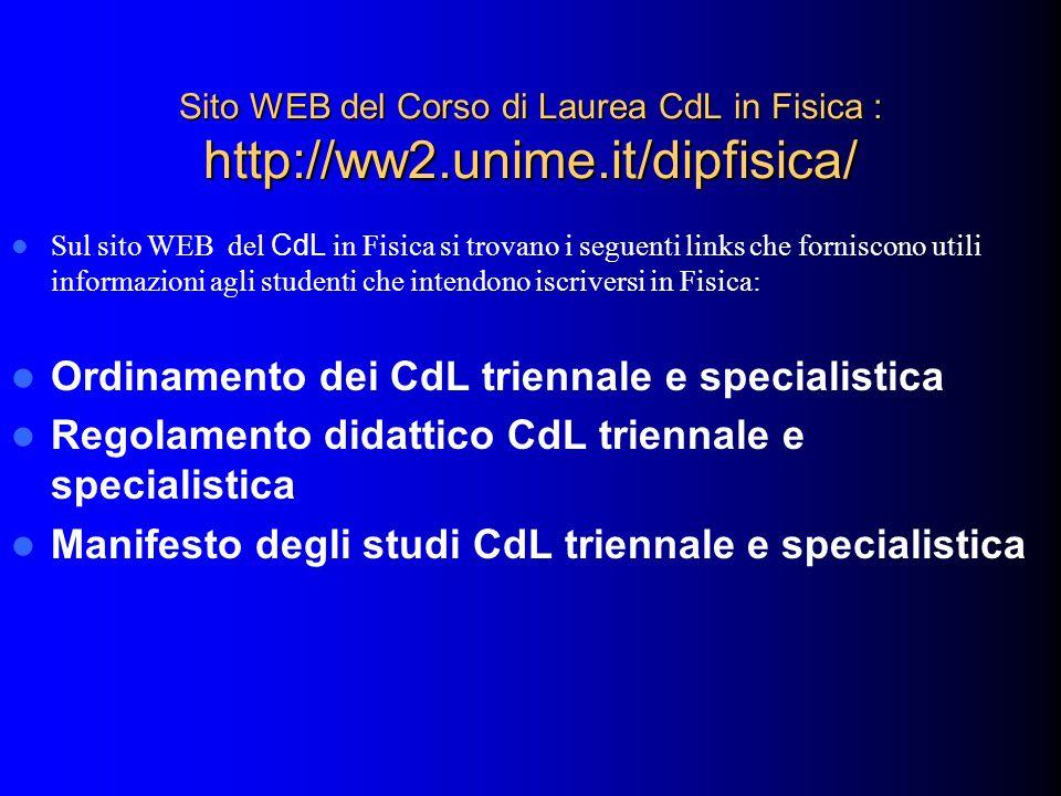 Ordinamento dei CdL triennale e specialistica