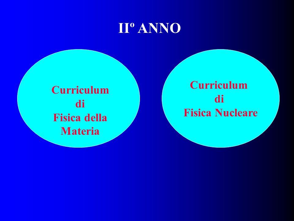 IIº ANNO Curriculum di Fisica Nucleare Curriculum di
